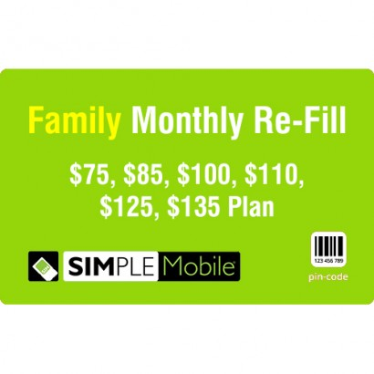 Simple Mobile Family Monthly Refill