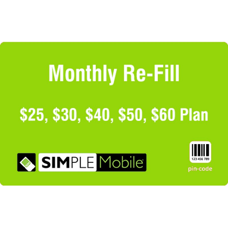 Simple Mobile Monthly Refill
